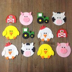 Farm Animals /Barnyard Theme Cupcake Toppers - Edible Fondant - Set of 12 Farm Animal/Barnyard Cupcake Toppers Set of by SouthernConfection Barnyard Cupcakes, Farm Animal Cupcakes, Themed Cupcakes, Farm Crafts, Preschool Crafts, Kids Crafts, Cupcake Tier, Fondant Cupcake Toppers, Rose Cupcake