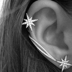 fdfd6399f99dc Punk Womens Crystal Star Ear Needle Wrap Pin Sweep Up Ear Cuffs Climber  Earrings