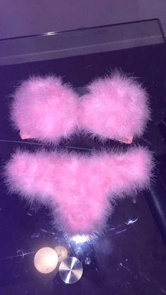 swimwear pink bikini fluffy fuzzy bra