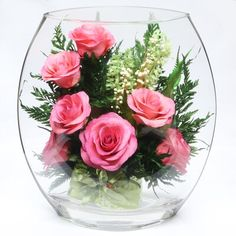 Flower room decor - Natural Long Lasting Bright Pink Roses in a Flat Rugby Glass Vase – Flower room decor Flower Room Decor, Flower Decorations, Fresh Flowers, Colorful Flowers, Cut Flowers, Vase Deco, Clear Glass Vases, Flowers Online, Floral Arrangements
