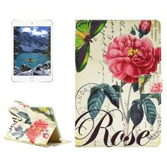 For+iPad+mini+4+Rose+Pattern+Horizontal+Flip+Leather+Case+with+Holder