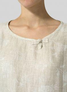 Linen Scoop Neck Patterned Tunic - Plus Size Neck Designs For Suits, Neckline Designs, Fancy Blouse Designs, Dress Neck Designs, Short Kurti Designs, Kurta Designs Women, Kurti Sleeves Design, Kurta Neck Design, Neck Patterns For Kurtis