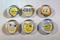 Marble Magnets  Emoticons / 52 by LisaChristines on Etsy, $5.00