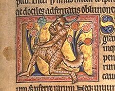 Sátiro, detalhe do Bestiário de Aberdeen, fl 13r (ampliado)http://commons.wikimedia.org