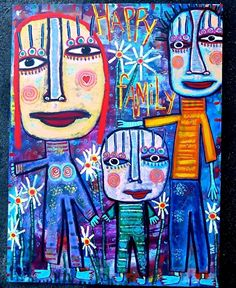 My April Painting of The Month: Happy Family! | Tracey Ann Finley - Blog