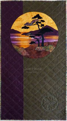 Sue Heinz is the owner of Kismet Quilting LLC and is the author of two Drawn to Mastery series workbooks and Fill Harmonics a background design workbook. Sue teaches quilting classes and sells her books and other tools on her website. Japanese Quilt Patterns, Japanese Patchwork, Japanese Art, Asian Quilts, Landscape Art Quilts, Hanging Quilts, Quilting Classes, Fabric Postcards, Tree Quilt