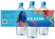 Finding Dory Movie Birthday Water Bottle Labels Party