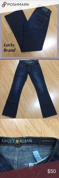 """NWOT MENS Lucky Brand slim boot size 29 x 32 Men's Lucky Brand 227 Slim Boot jeans • 32.25"""" inseam, 9.25"""" rise, 14.5"""" across waist, 18.5"""" leg opening • 100% cotton • Brand new, tags were taken off but never worn Lucky Brand Jeans Bootcut"""