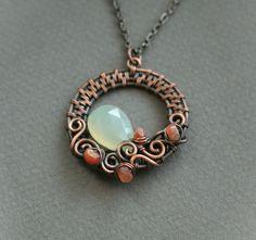 Swirls  copper wire woven pendant with green by bodzastudio, $33.00