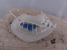 """Sea Glass Jewelry - Sea Glass Whale Necklace - Bonfire Sea Glass Cobalt Blue and White - Sterling Silver on a 17"""" chain."""
