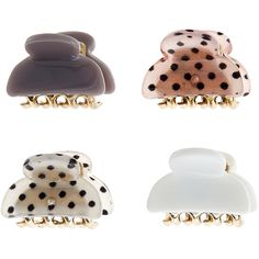 Accessorize 4 x Mini Spotty Bulldog Pack ($6) ❤ liked on Polyvore featuring accessories, hair accessories, barrette hair clips, hair clip accessories and mini hair clips