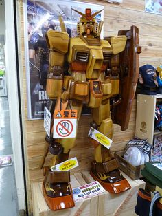Wooden Gundam  I'd love one of these :)