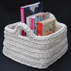 DIY crochet storage basket.