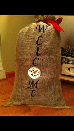 Hand painted burlap sack