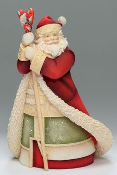 Santa with Staff, Heart of Christmas Santas by Karen Hahn for Enesco. Santa Figurines, Christmas Figurines, Collectible Figurines, Father Christmas, Christmas Holidays, Christmas Crafts, Christmas Ornaments, Christmas Ideas, Christmas Things
