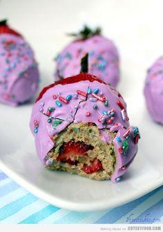 Cupcake-stuffed Strawberries! Who knew?