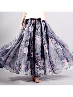 de0c10608 Only US$27.43 shop gracila chiffon floral printed elastic waist boho maxi  skirt for women at