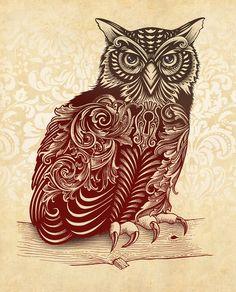 that is a sweet, sweet owl. hmm where could I put an owl tattoo? Owl Print, Print Print, Popular Art, Design Art, Graphic Design, Cool Art, Awesome Art, Art Photography, Illustration Art