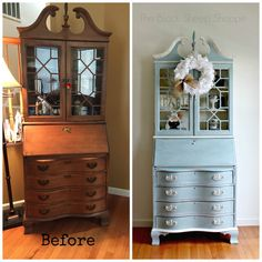 Before and after painted secretary desk. Modular Furniture, Diy Furniture Projects, Repurposed Furniture, Furniture Making, Furniture Makeover, Home Furniture, Furniture Design, Headboard Makeover, Reclaimed Furniture