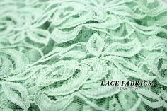 MINT Green Cotton Lace Fabric by the Yard Wedding Bridal Craft Lace Material Cotton MINT Green Lace Fabrics - 1 Yard Style 231. $11.00, via Etsy.