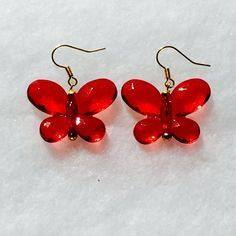 Red crystal butterfly earrings handmade by NorthCoastCottage