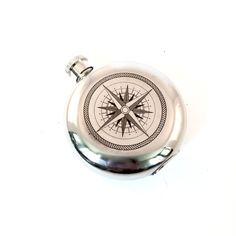 Stainless steel 3 oz Flask with Nautical Compass Design by EllasAtticVintage on Etsy