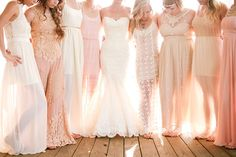 Blush bridesmaid dresses and Enzoani Dakota wedding dress Cream Bridesmaid Dresses, Mix Match Bridesmaids, Bridesmaids And Groomsmen, Wedding Bridesmaids, Wedding Dresses, Bridesmaid Inspiration, Wedding Inspiration, Wedding Ideas, Wedding Simple