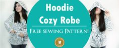 Learn how to make a hooded robe sewing pattern with this free pattern and tutorial. This also makes an excellent bathrobe pattern to cover up after a bath. Get this free sewing pattern for women and make your own robe very easy! Sewing Machine Projects, Sewing Projects For Kids, Sewing For Kids, Sewing Patterns Free, Free Sewing, Free Pattern, Serger Thread, Sewing Alterations, Sewing Spaces