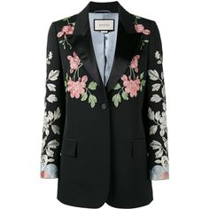 Gucci floral embroidered blazer (324.355 RUB) ❤ liked on Polyvore featuring outerwear, jackets, blazers, gucci, black, gucci jacket, long sleeve jacket, peak lapel blazer, gucci blazer and blazer jacket