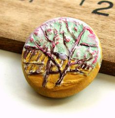 Handmade Polymer Clay Coin Bead  In Bloom by BeadsByEarthTones, $2.89