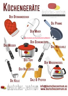 Kitchen Appliances German Vocabulary Grammar Alemán German DAF Vocabulario - Home Decor Study German, German English, Learn German, Learn French, German Grammar, German Words, German Resources, Deutsch Language, Germany Language