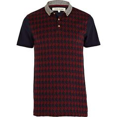 navy houndstooth jaquard polo shirt - polo shirts - t-shirts / vests - men - River Island