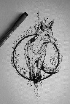 dessin tatouage renard-artistique-cercle