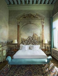 Bedroom with frescoed wall murals. Italy perhaps?