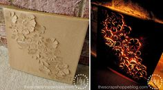 Back light Canvas Art - love this stuff, wish i could find one with pinecones or pine boughs on it! The Scrap Shoppe: Backlit Canvas Art This looks so amazing! Her tutorial is very good. Excellent instructions and photos to go with the steps. Crafts To Do, Arts And Crafts, Diy Crafts, Diy Wall Art, Diy Art, Craft Art, Fuente Art Deco, Kirigami, Cadre Diy