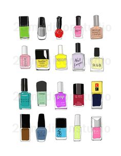 Nail polish combo illustration - Yes, NEON included =) $18.00, via Etsy.