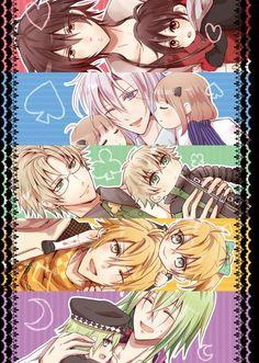 Shin, Ikki, Kent, Toma, and Ukyo - Amnesia Amnesia Characters, Anime Characters, Me Me Me Anime, Anime Guys, Manga Anime, Otaku, Amnesia Otome Game, Amnesia Memories, Kamigami No Asobi