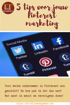 5 tips voor jouw Pinterest marketing | EF Office Management Pinterest Marketing, Office Management, Tips, Blog, Blogging, Counseling