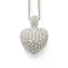 Heart-shaped pendant on a fine belcher chain made from 925 Sterling silver. The front of the heart is covered with white pavé-set zirconia, the back with ornamental design.