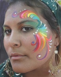 rainbow face painting ideas | Face Painting by Jaia << like the multi-color concept