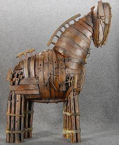 "Trojan Horse ""Wooden Horse"" Metal Sculpture By Jacob Novinger"