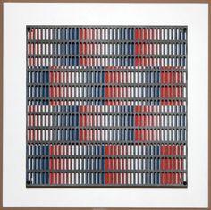 Antonio Asis / found on www.kunzt.gallery / vibration bandes bleus et rouges, 2010 / wood, steel and serigraph