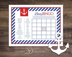Instant Download Anchor Baby Shower Bingo Cards Printable