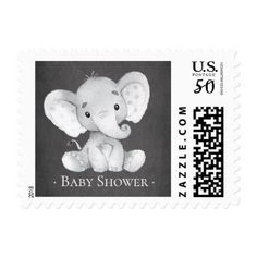 Chalkboard Jungle  Elephant  Baby Shower Postage - baby shower ideas party babies newborn gifts