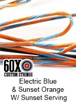 electric blue sunset orange with sunset serving custom bow string