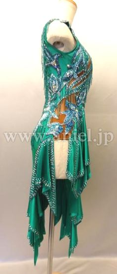 Социальный танец платье фитнес модель / L1832・изумрудно-зеленый