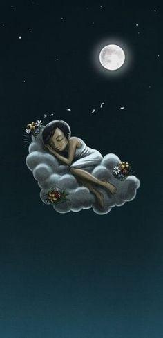 sleeping on a cloud under the moonlight.