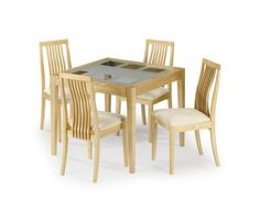 Dining Table with frosted glass + chairs, maple finish