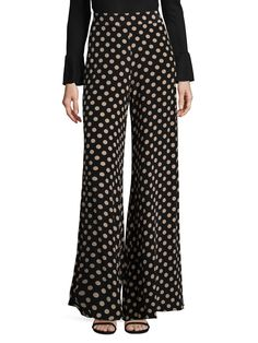 Alexis Auden Silk Polka Pants In Black Beige Dot Shop Alexis, Saks Fifth Avenue, Black Pants, Fashion Forward, Pajama Pants, Feminine, Beige, Silk, Clothes For Women