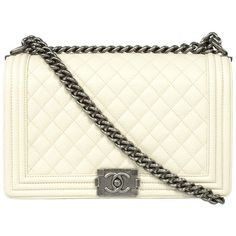 Chanel Boy Caviar Leather Bag found on Polyvore featuring bags, handbags, chanel, clutches, beige, leather handbags, leather crossbody handbags, leather cross body handbags, beige leather handbag and crossbody purse